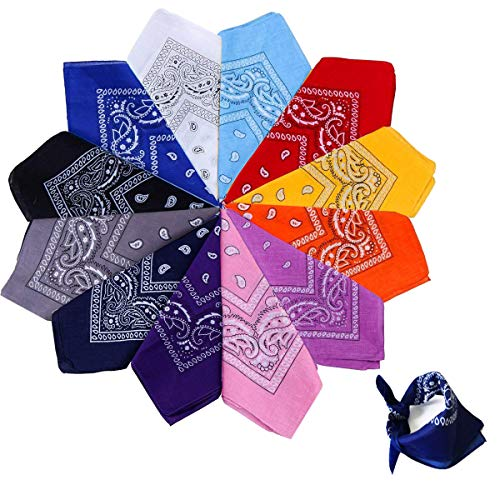 Xutong 12PCS Bandanas Fichu Mouchoir Unisexe,Bandeau de Cheveux,Echarpe de Cou,Décoration en Coton Rétro Style Multicolore Multifonction pour Homme et Femme,Enfant 55 * 55cm