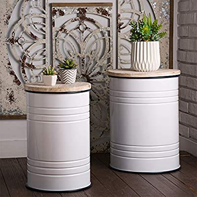 Glitzhome Rustic Storage Bins Accent Side Table Home Furniture Metal Stool Ottoman Seat with Round Wood Lid Set of 2