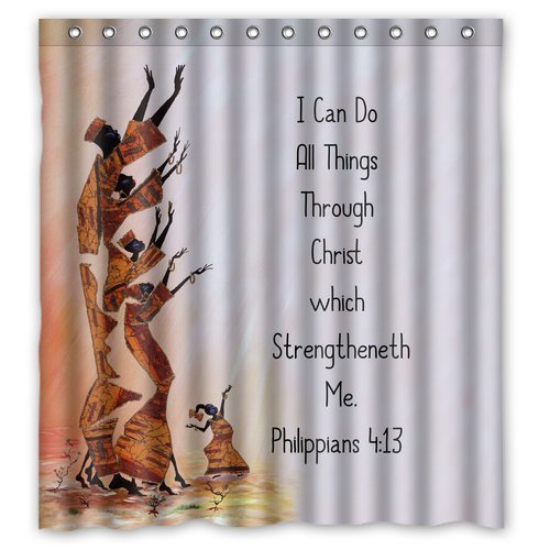 """Generic Personalized I Can Do All Things Through Christ Which Strengtheneth Me Jesus Christian Bible Verse Series Sold By Too Amazing Shower Curtain Bath Decor Curtain 66"""" x 72"""""""