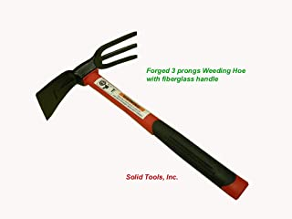 Forgecraft USA 3 Prong Cultivator W/Fiberglass Handle Adze Hoe with Fork, Dual Headed Weeding Tool