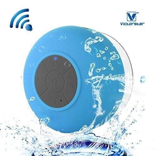 Resistente al agua Bluetooth 3.0 Ducha Altavoz, Altavoz Portátil de Manos Libres con Mic Incorporado, 6h de Tiempo de Juego, Botones de Control y Ventosa Dedicado para Duchas,Cuarto de baño,Piscina,Barco,Coche, Playa,al aire libre Usar (Blue)