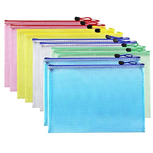Febbya Dokumententasche A4,Reissverschlusstasche Wasserdicht 10 Stücke Mesh Sammelmappemit mit Reißverschluss für Kosmetik Bürozubehör Reisen Rot Blau Grün Gelb Weiß