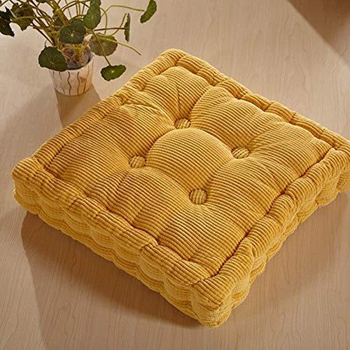 NSYNSY Cojín de asiento cuadrado para el suelo, acolchado de pana de color sólido engrosado, para silla de comedor en casa, oficina, color amarillo, 43 x 43 cm