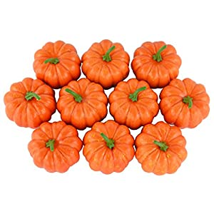 JEDFORE Fake Fruit Home House Kitchen Decoration Artificial Lifelike Simulation Mini Pumpkins Halloween Thanksgiving Day House Decoration – Set of 10 – Orange
