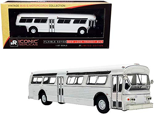 Iconic Replicas Flxible 53102 Transit Bus Blank White Vintage Bus & Motorcoach Collection 1/87 Diecast Model 87-0242