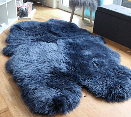Navy Blue Sheepskin Rug | Genuine | Extra Thick and Soft Wool | by Rughouse (Quad:...