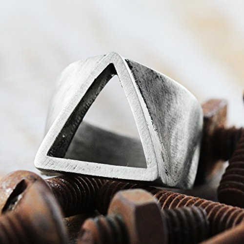Carpe Diem Jewelry Silver Triangle Ring Mens Geometric Custom Engraved Rings Rustic Oxidized Personalized Size Hand Stamped Unique Man Fashion Cool Rings