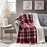 Comfort Spaces Ultra Soft and Cozy Sherpa Couch and Bed, Plush Fleece Reversible Throw-Blanket with Fuzzy Faux FurThrows, 50x60, Cranberry Plaid