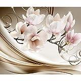 decomonkey | Fototapete Blumen Abstrakt 350x256 cm XL | Tapete | Wandbild | Wandbild | Bild | Fototapeten | Tapeten | Wandtapete | Wanddeko | Wandtapete | Magnolie Orchidee 3d Effekt beige...