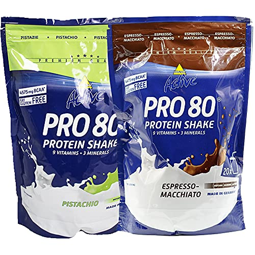 Atlant Vital Set aus Inkospor Active Pro 80 Protein Shake Eiweißpulver viele Geschmacksrichtungen 2x 500g (Pistazie/Espresso-Macchiato)