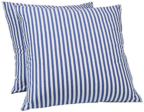 AmazonBasics - Kissenbezüge, Jersey, 2er-Pack, gestreift, 80 x 80 cm, Marineblau