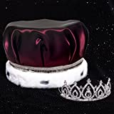 Burgundy Satin Crown with Silver Sequins and Becca Tiara Royalty Set