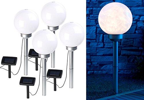 Borne lumineuse sphérique à LED Ø 20 cm avec effet lumineux rotatif & piquet - x4 [Lunartec]