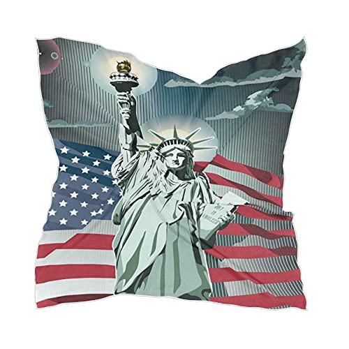 Linomo Bufanda de seda de gasa para mujer, estatua de la libertad, bandera americana, mantón cuadrado