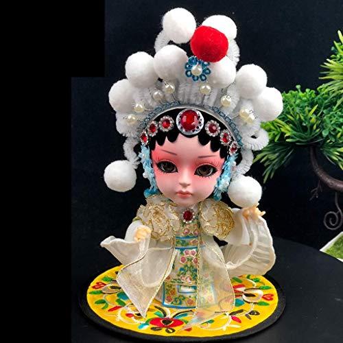 Esculturas Decoración Estilo chino Personajes de la Ópera de Pekín Recuerdo de Facebook Adornos de muñecas Estatua pintada a mano Serpiente blanca / Bai Suzhen Estatuilla Artesanía Estantería de 6 pu