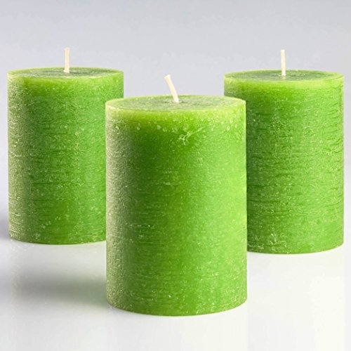Melt Candle Company Set of 3 Green Pillar Candles 3