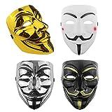 YLL Cuatro colores diferentes de máscaras de hacker, máscaras para disfraces de Halloween, máscaras anónimas, máscaras Vendetta, accesorios para juegos de rol.