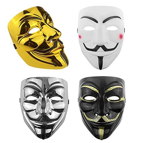 YLL Cuatro colores diferentes de máscaras de hacker, máscaras para disfraces de...