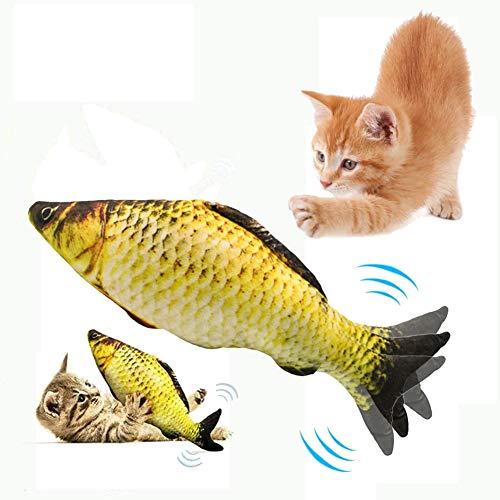 Lacyie Katzenspielzeug Elektrisch Fisch, USB Elektrische Katzenminze Plüsch Fische Spielzeug Haustier Interaktives Simulations Zappelnder Fisch für Katzen um zu beißen, kauen,treten und schlafen(a)