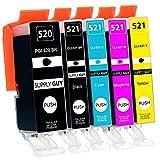 Supply Guy 5 Druckerpatronen mit Chip kompatibel mit Canon PGI-520 CLI-521 für Canon Pixma IP-3600 IP-4600 IP-4700 MP-540 MP-550 MP-560 MP-620 MP-630 MP-640 MX-860 MX-870