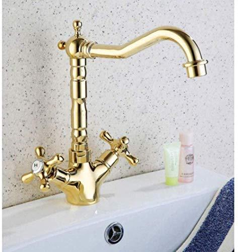 Wastafelarmaturen waterkraan gouden messing deck monteren badkamer keukenkraan eenhands 360 draaibare wastafel waterkraan warm en koud water mengkraan