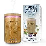 MARNYS - Diffusore di oli essenziali a ultrasuoni in bambù, con LED, umidificatore da 150 ml