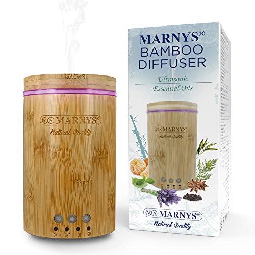 MARNYS Difusor Ultrasónico Bamboo de Aceites Esenciales LED Humidificador 150ml