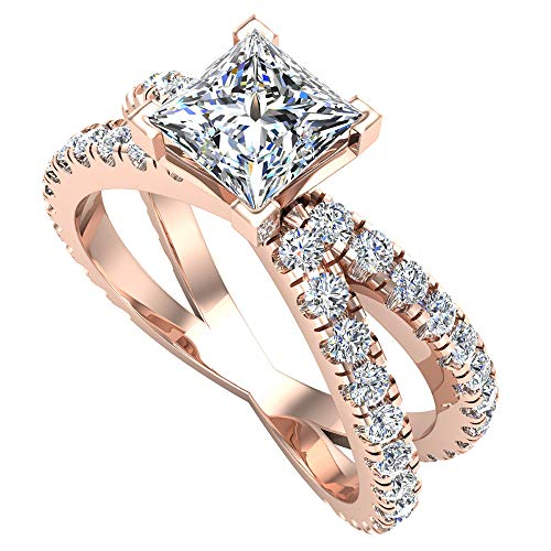 X Cross Split Shank Princess Cut Diamond Engagement Ring 1.75 carat total weight 18K Rose Gold (G-H,SI1)