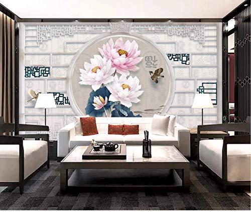 Preisvergleich Produktbild Yirenfeng Tapezieren Sie Wandaufkleber neuen chinesischen Lotus 3D geprägte chinesische Grenzmarmormusterwand150X120CM
