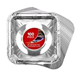 Gas Burner Liners (100 Pack) Disposable Aluminum Foil Square Stove Burner Covers - 8.5 Inch Gas Range Protector Bibs Keep Stove Clean - Foil Liners to Catch Oil, Grease and Food Spills…