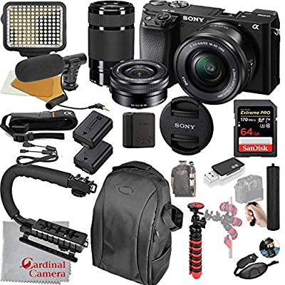 Sony Alpha a6100 Mirrorless Camera with 16-50mm and 55-210mm Lenses, Video Bundle + LED Video Light + Microphone + Extreme Speed 64GB Memory(21pc Bundle) from Cardinal Camera-Sony