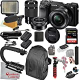 Sony Alpha a6100 Mirrorless Camera with 16-50mm and 55-210mm Lenses, Video Bundle + LED Video Light + Microphone + Extreme Speed 64GB Memory(21pc Bundle)