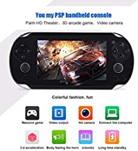 4.3 Inch 8GB Handheld Game Console 32Bit Video Game Console Built-in 1200+ non-repetitive games Support NES/SNES/GB/GBC/GBA/SMC/SMD/SEGA Games MP3 MP5 Player Support Ebook Camera Recording (black)