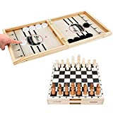 JONYJ Fast Sling Puck Game Paced & International Chess, 2 in 1 Table Desktop Battle, Large Winner Board Game Toys Ice Hockey Game for Adults and Kids, Parent-Child Game (22 x 11 in)