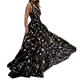 Embroidered Maxi Dress Womens Sexy Deep V Neck Floral Boho Backless Party Prom Beach Wedding Long Gown Dress Black
