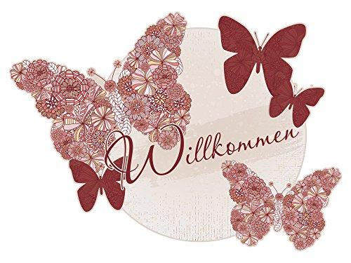 GRAZDesign Wandtattoo Prilblumen Aufkleber - Klebefolie Willkommen - Türaufkleber Schmetterlinge rot / 42x30cm / 721491_30