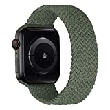 MroTech Correa Compatible con Apple Watch 44mm 42mm Pulseras de Repuesto para iWatch SE Serie 6 5 4 3 2 1 Correa de Nailon elástico Banda Elastic Nylon Woven Loop Sport Band 42/44 mm-Army Verde/L