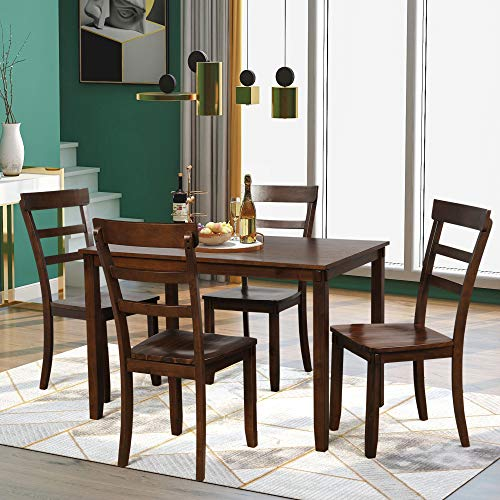 P PURLOVE 5pc Dining Table Set, Dining Room Set, Wood Kitchen Table and 4 Chairs (Brown)