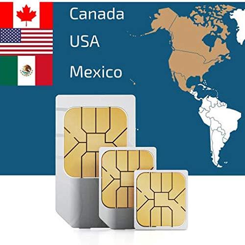 Prepaid SIM-Karte für USA mit 50GB Daten (funktioniert auch in Kanada & Mexiko mit 5GB Daten) Roaming Saver + Unbegrenzte Anrufe & Texte in den USA für 21 Tage