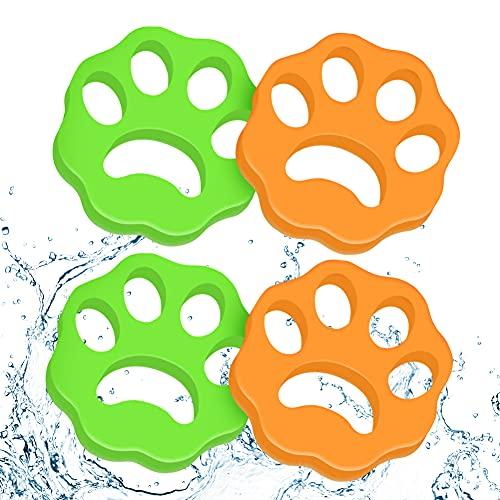 Zhongtou 4 Stück Tierhaarentferner WaschmaschineWiederverwendbar Katzenhaarentferneraus Gummi Klebrig Elastisch Tierhaare Entfernenfür Wäsche Kleidung Grün Orange