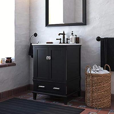 Dorel Living Otum 24 Inch Sink, Black Wood Bathroom Vanity