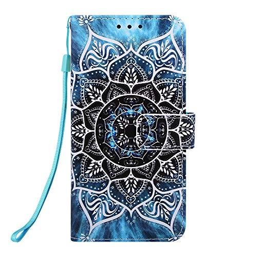 Miagon für Samsung Galaxy A20S Leder Hülle,Klapphülle mit Kartenfach Brieftasche Lederhülle Stossfest Handy Hülle Klappbar,Mandala Blume