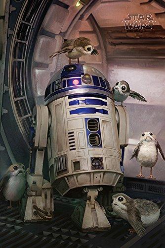 Star Wars Der letzte Jedi 'R2-D2 & Porgs' Maxi Poster,61 x 91.5 cm