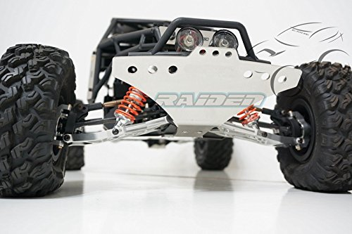 Raiden Axial YETI 90025 90026 Stainless Steel Front Bumper Skid Plate Armor Silver