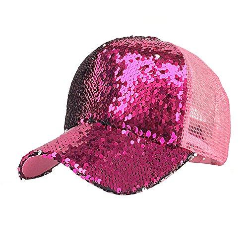 Baseball Caps, BBring Damen Mode Pferdeschwanz Basecap Pailletten Shiny Unordentlich Bun Snapback Hut Mesh Sun Caps (Pink)