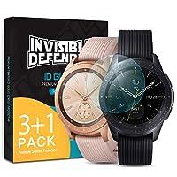 【4枚】Galaxy Watch 42mm フィルム ガラスフィルム 強化ガラスフィルム 液晶保護フィルム Ringke [Invisible Defender Glass] Touch対応 高画質 高硬度9H 保護フィルム 強力なクリア保護