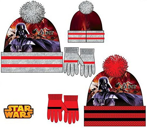 for-collectors-only Star Wars Winterset Darth Vader mit Mütze und Handschuhe für Kinder 3-9 Jahre Beanie Strickmütze Set