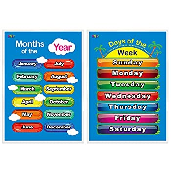 """Days of the Week Months of the Year,2 LAMINATED Educational Posters for Toddlers ,17"""" X 23"""""""