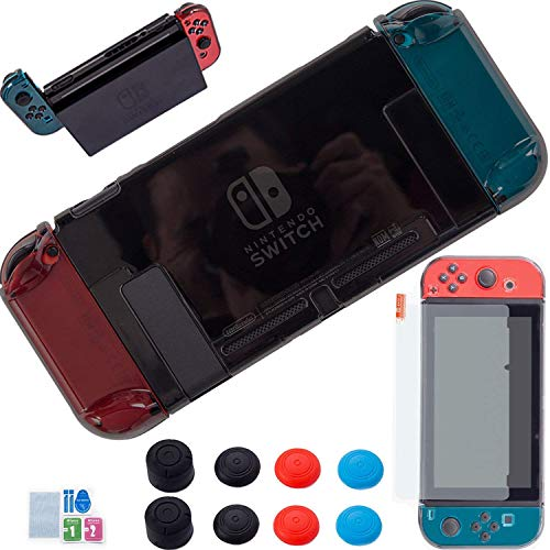 YOOWA 3 in 1 Nintendo Switch Cover Case - [Newest Version] Dockable Clear Protective Case for Nintendo Switch with Screen Protector and 8 Thumb Grips Caps - Black