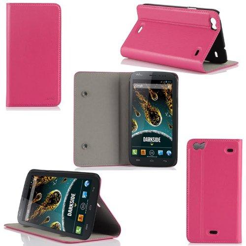 XEPTIO Wiko Darkside Tasche Leder Hülle Rosa Cover mit Stand - Zubehör Etui Google Wiko Darskide Flip Case Schutzhülle (PU Leder, Handytasche Rosa/Pink) Accessoires